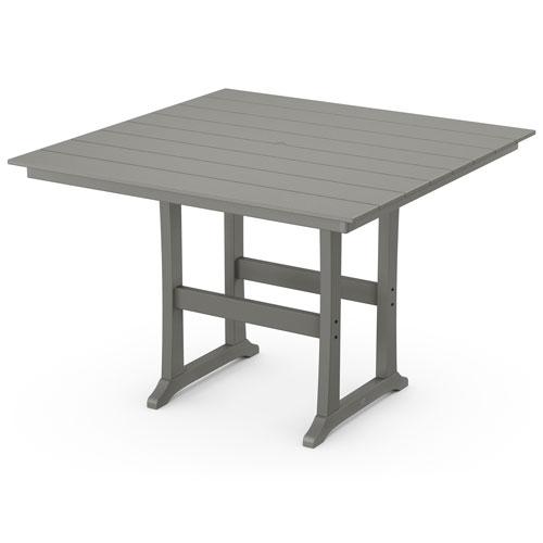 Farmhouse Trestle Slate Grey 59-Inch Bar Table