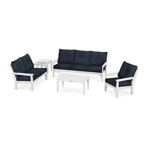 Vineyard White and Marine Indigo Deep Seating Set, 5-Piece