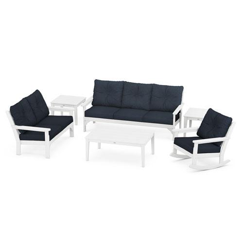Vineyard White and Marine Indigo Deep Seating Set with Rectangular Table, 6-Piece