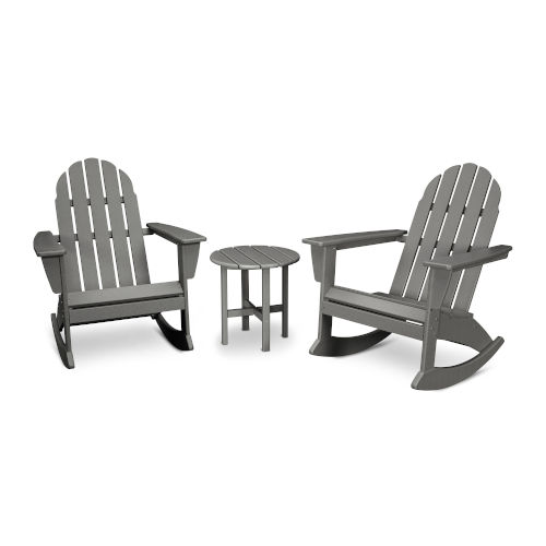 Vineyard Slate Grey Adirondack Rocking Chair Set, 3-Piece