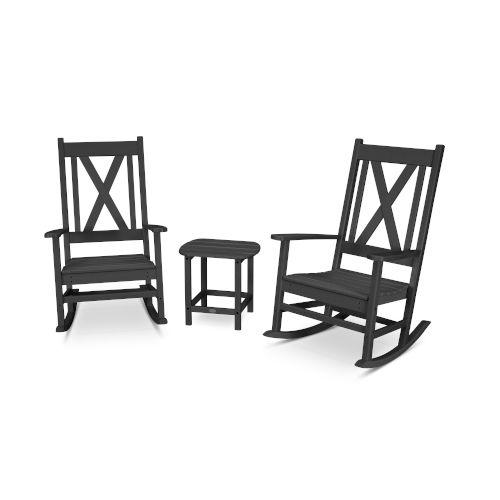 Braxton Black Porch Rocking Chair Set, 3-Piece