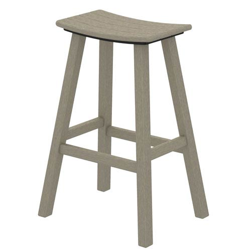 POLYWOOD® Sand Traditional Bar Height Saddle Seat Barstool