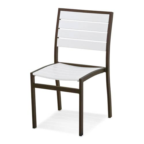 POLYWOOD® Euro Dining Side Chair in Textured Bronze Aluminum Frame/White