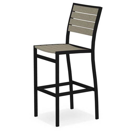 POLYWOOD® Euro Black and Sand Bar Height Side Chair