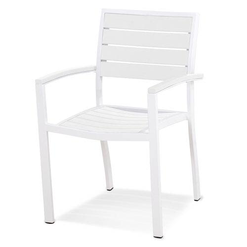 Euro Dining Arm Chair In Textured White
