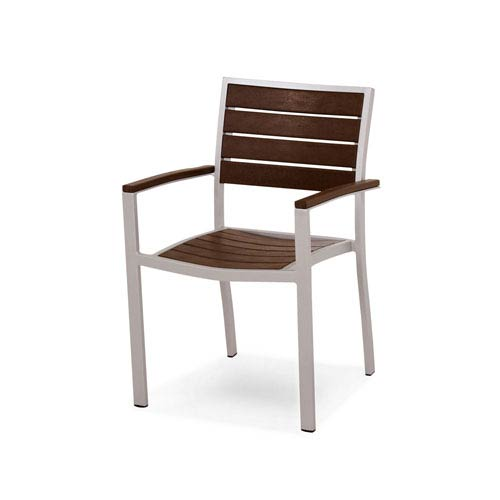 POLYWOOD® Euro Silver and Mahogany Arm Chair