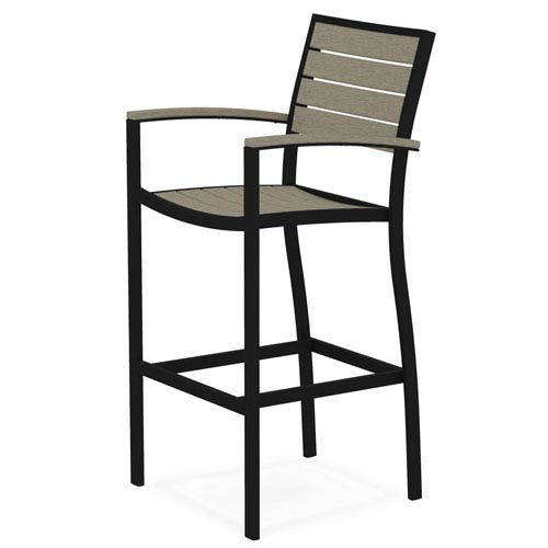 POLYWOOD® Euro Black and Sand Bar Height Arm Chair