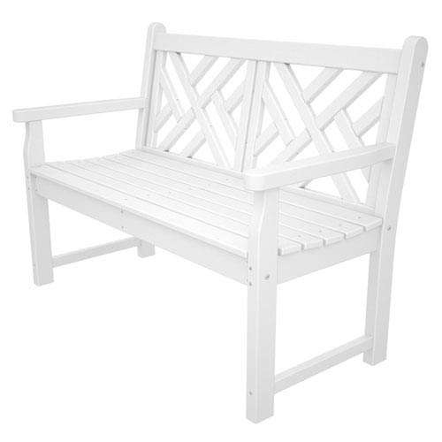 Chippendale White 48 Inch Bench