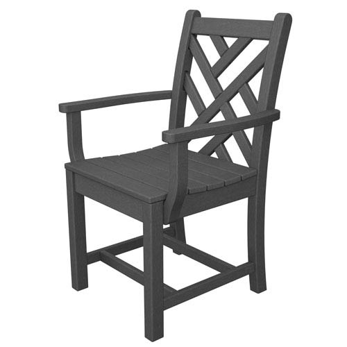 Chippendale Slate Grey Dining Arm Chair