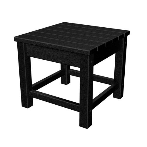 Polywood Black Club 18 Inch Side Table