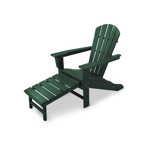 South Beach Green Ultimate Adirondack with Hideaway Ottoman