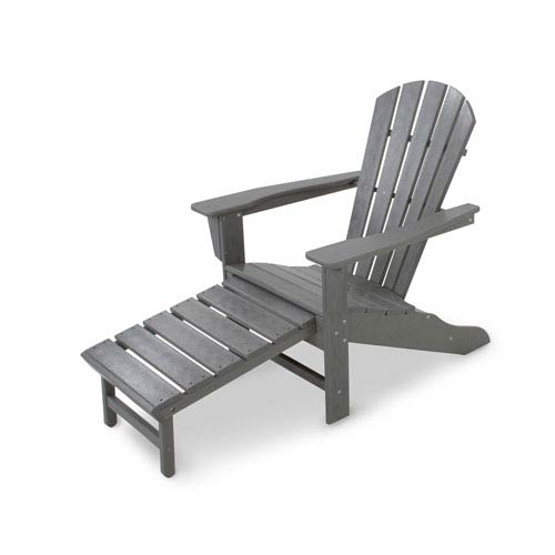 South Beach Slate Grey Ultimate Adirondack with Hideaway Ottoman