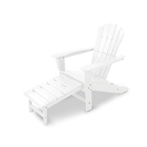 POLYWOOD® South Beach White Ultimate Adirondack with Hideaway Ottoman