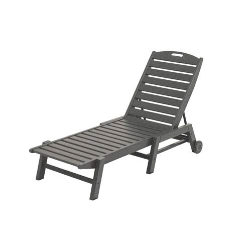 POLYWOOD® Nautical Wheeled Chaise - Stackable in Slate Grey