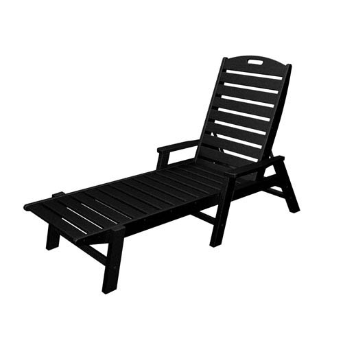 POLYWOOD® Nautical Black Chaise w/ Arms - Stackable