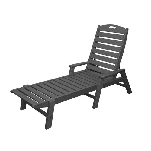 Nautical Slate Grey Chaise w/ Arms - Stackable