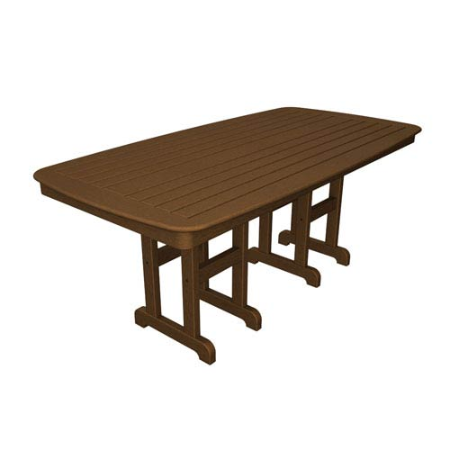 POLYWOOD® Nautical Teak 37 Inch x 72 Inch Dining Table