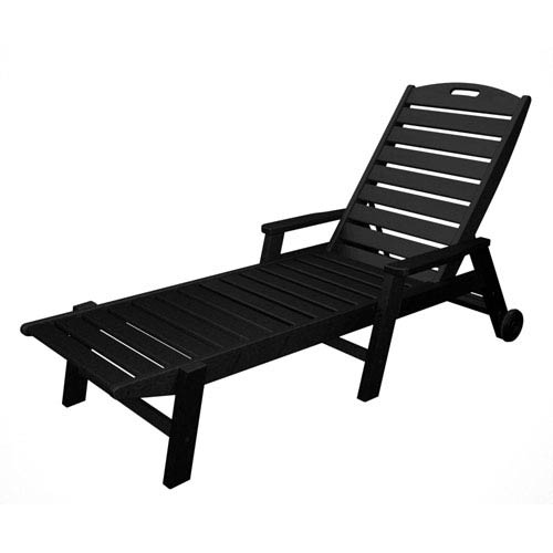 Nautical Wheeled Chaise with Arms - Stackable in Black