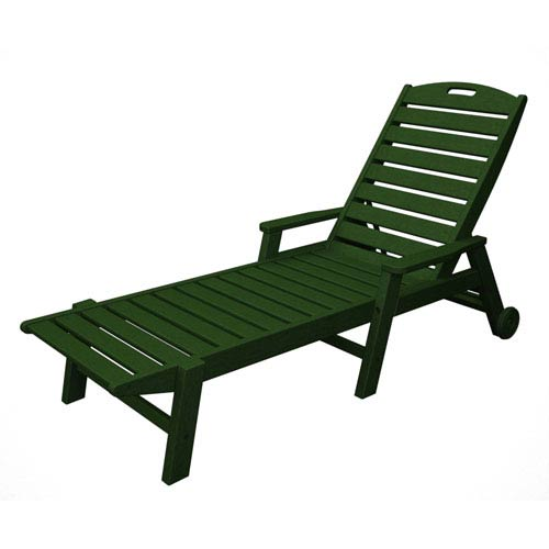 POLYWOOD® Nautical Wheeled Chaise with Arms - Stackable in Green