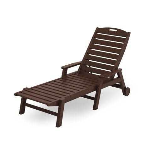 Nautical Wheeled Chaise with Arms - Stackable in Mahogany
