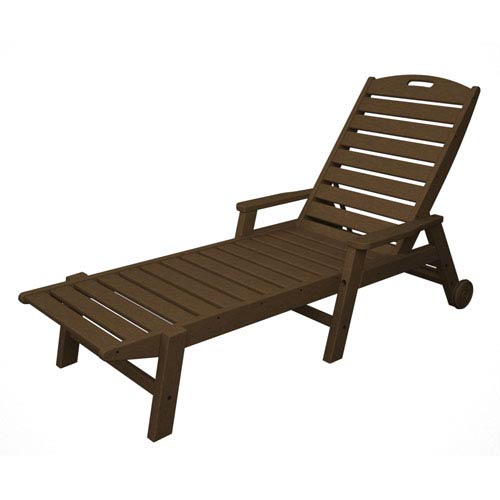 Nautical Wheeled Chaise with Arms - Stackable in Teak