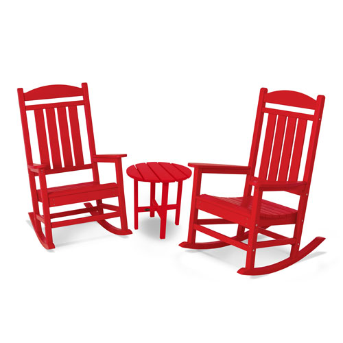 POLYWOOD® Presidential 3-Pc. Rocker Set in Sunset Red