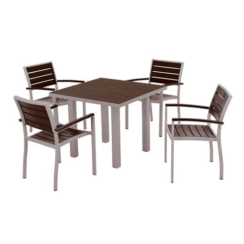 POLYWOOD® Euro Five-Piece Dining Set in Textured Silver Aluminum Frame/Mahogany