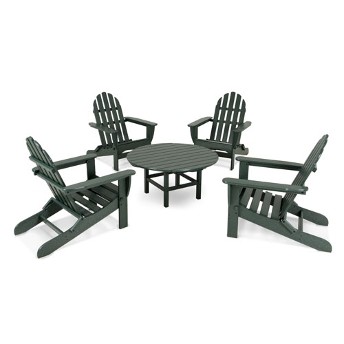 POLYWOOD® Classic Adirondack Five-Piece Conversation Group in Green