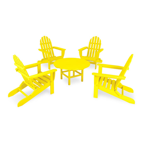 POLYWOOD® Classic Lemon Adirondack Five Piece Conversation Seating Set