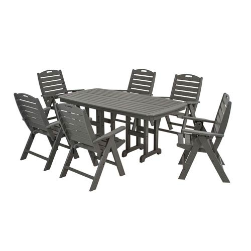 Nautical Seven-Piece Dining Set in Slate Grey