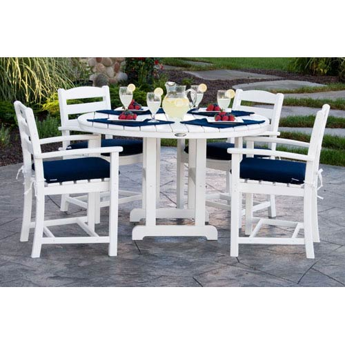 POLYWOOD® La Casa Cafe Five-Piece Dining Set w/ Cushions in White/Navy