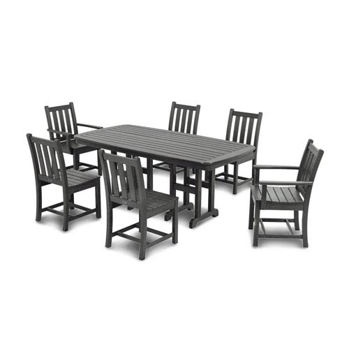 POLYWOOD® Traditional Garden Seven-Piece Dining Set in Slate Grey