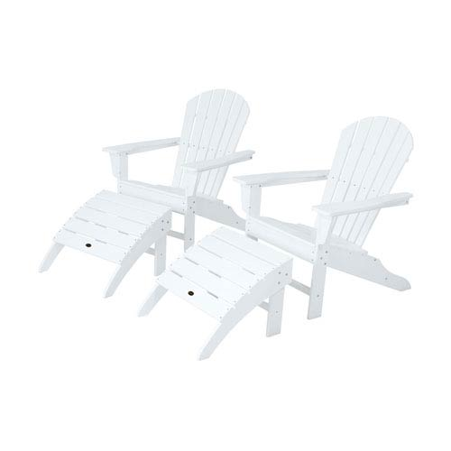 POLYWOOD® South Beach Four-Piece Adirondack Set in White