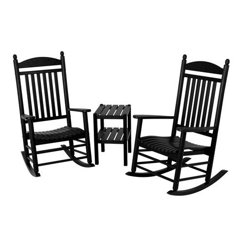 POLYWOOD® Jefferson Three-Piece Rocker Set in Black