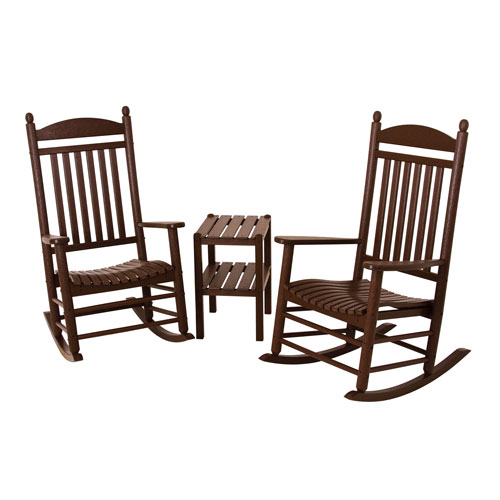 POLYWOOD® Jefferson Three-Piece Rocker Set in Mahogany