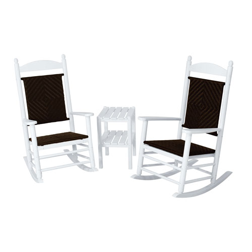 POLYWOOD® Jefferson Three-Piece Woven Rocker Set in White Frame-Cahaba