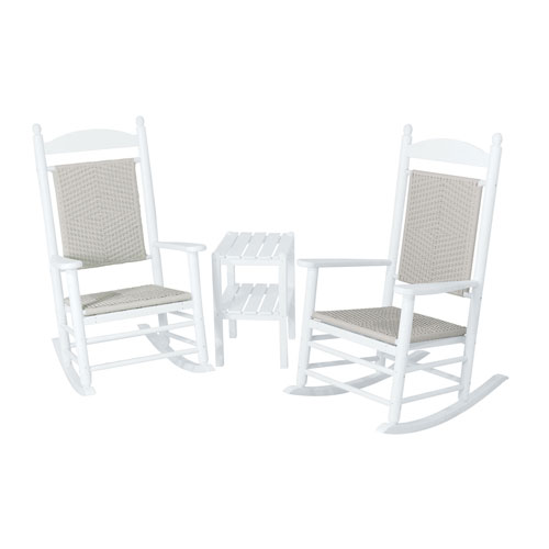 POLYWOOD® Jefferson Three-Piece Woven Rocker Set in White Frame/White Loom
