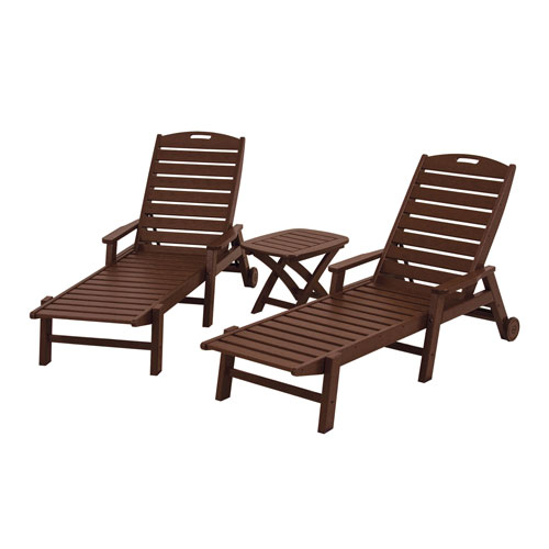 POLYWOOD® Nautical Three-Piece Chaise Set in Mahogany