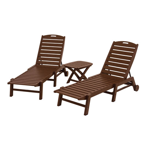 POLYWOOD® Nautical Three-Piece Chaise Set in Mahogany