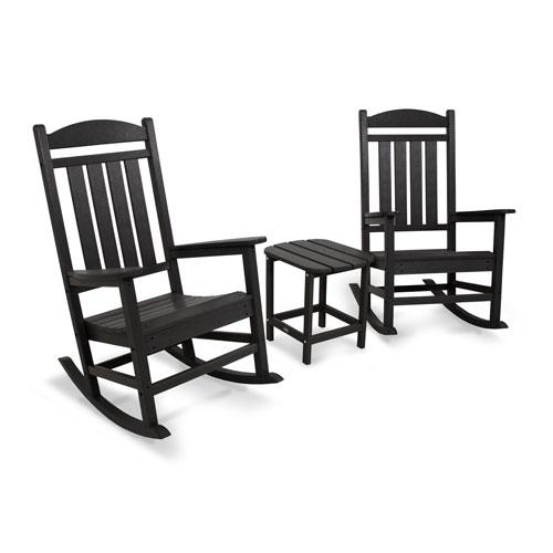 POLYWOOD® Presidential Rocker Black Three Piece Seating Set