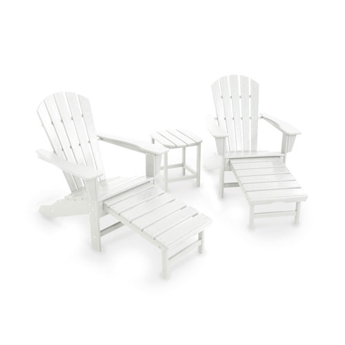 South Beach White Ultimate Adirondack Three Piece Seating Set
