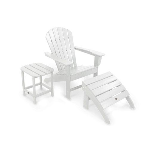 South Beach White Adirondack Three Piece Seating Set