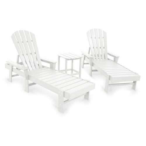 South Beach White Chaise Three Piece Seating Set