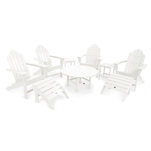POLYWOOD® Long Island White Adirondack Nine Piece Conversation Seating Set
