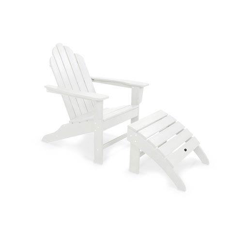 POLYWOOD® Long Island White Adirondack 78-Inch Two Piece Seating Set