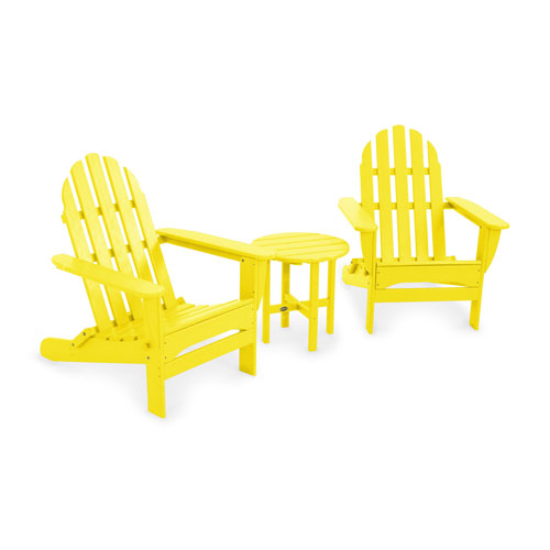 Lemon Classic Folding Adirondack Three Piece Seating Set