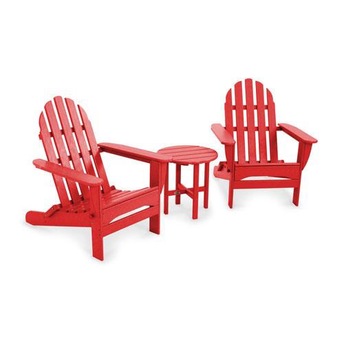 POLYWOOD® Sunset Red Classic Folding Adirondack Three Piece Seating Set