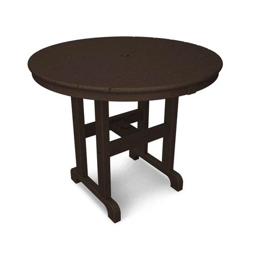 Polywood La Casa Café Mahogany Round Inch Dining Table Rtma - 36 inch oval dining table