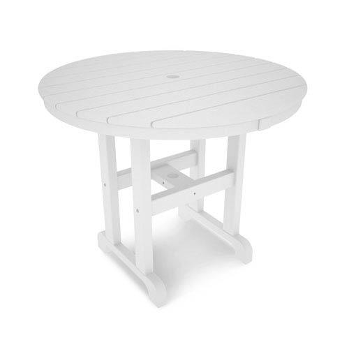 Polywood La Casa Café White Round 36 Inch Dining Table