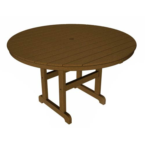 POLYWOOD® La Casa Café Teak Round 48 Inch Dining Table